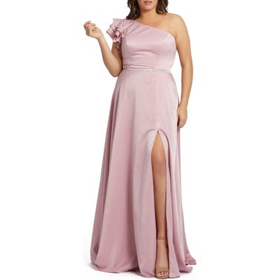 Plus Size MAC Duggal One-Shoulder Satin Gown, Pink