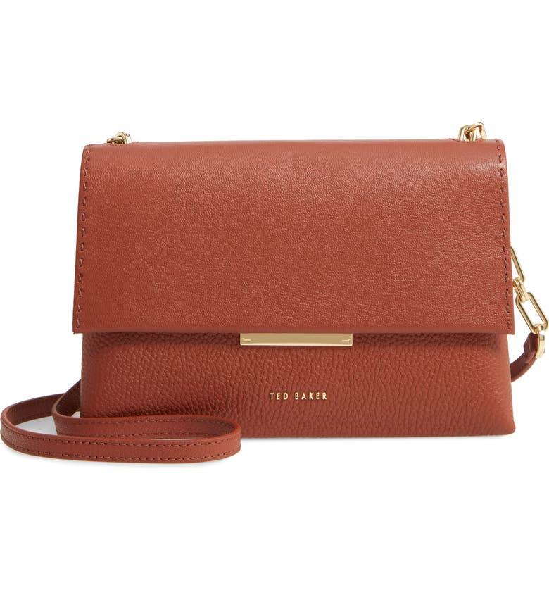 TED BAKER LONDON Diilila Leather Crossbody Bag, Main, color, DARK TAN