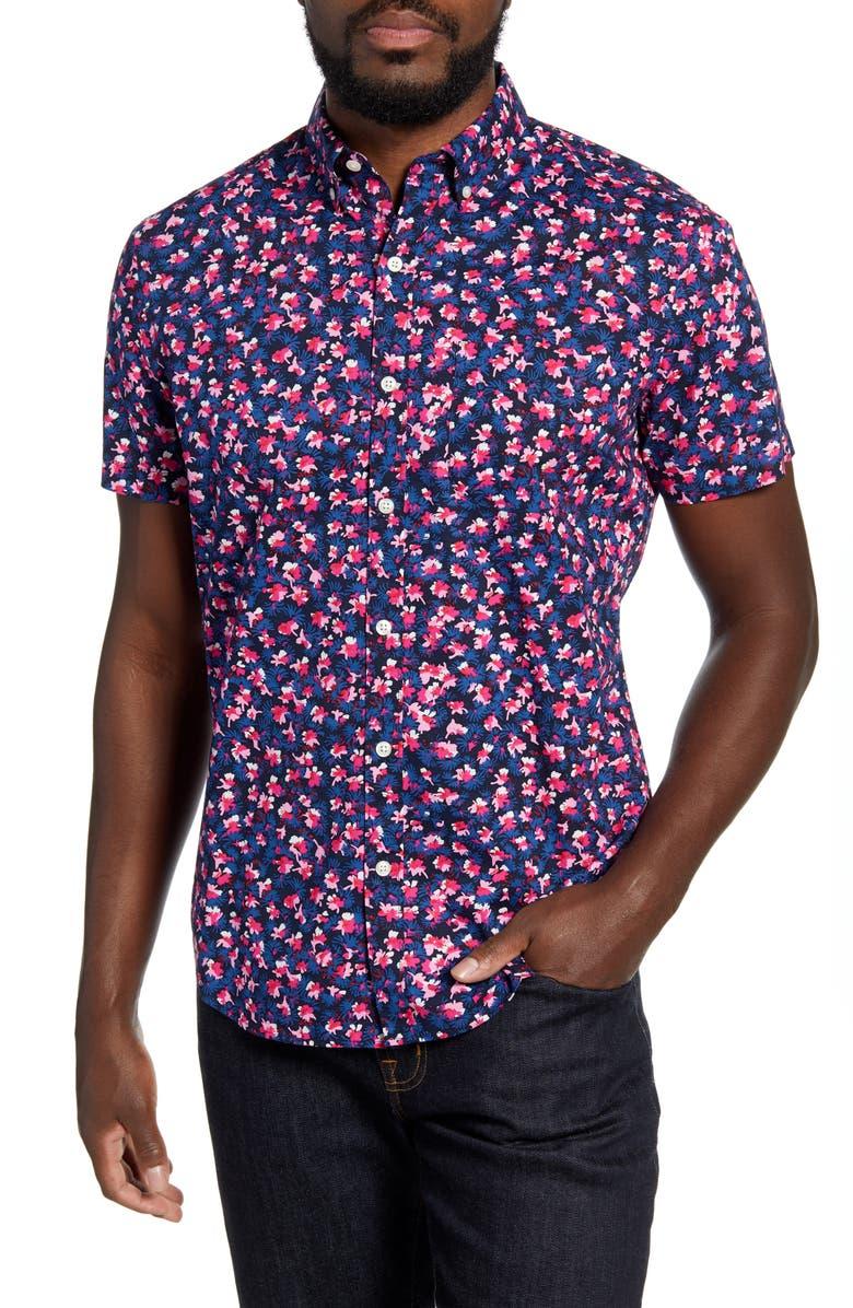 BONOBOS Slim Fit Floral Short Sleeve Button-Down Shirt, Main, color, 400