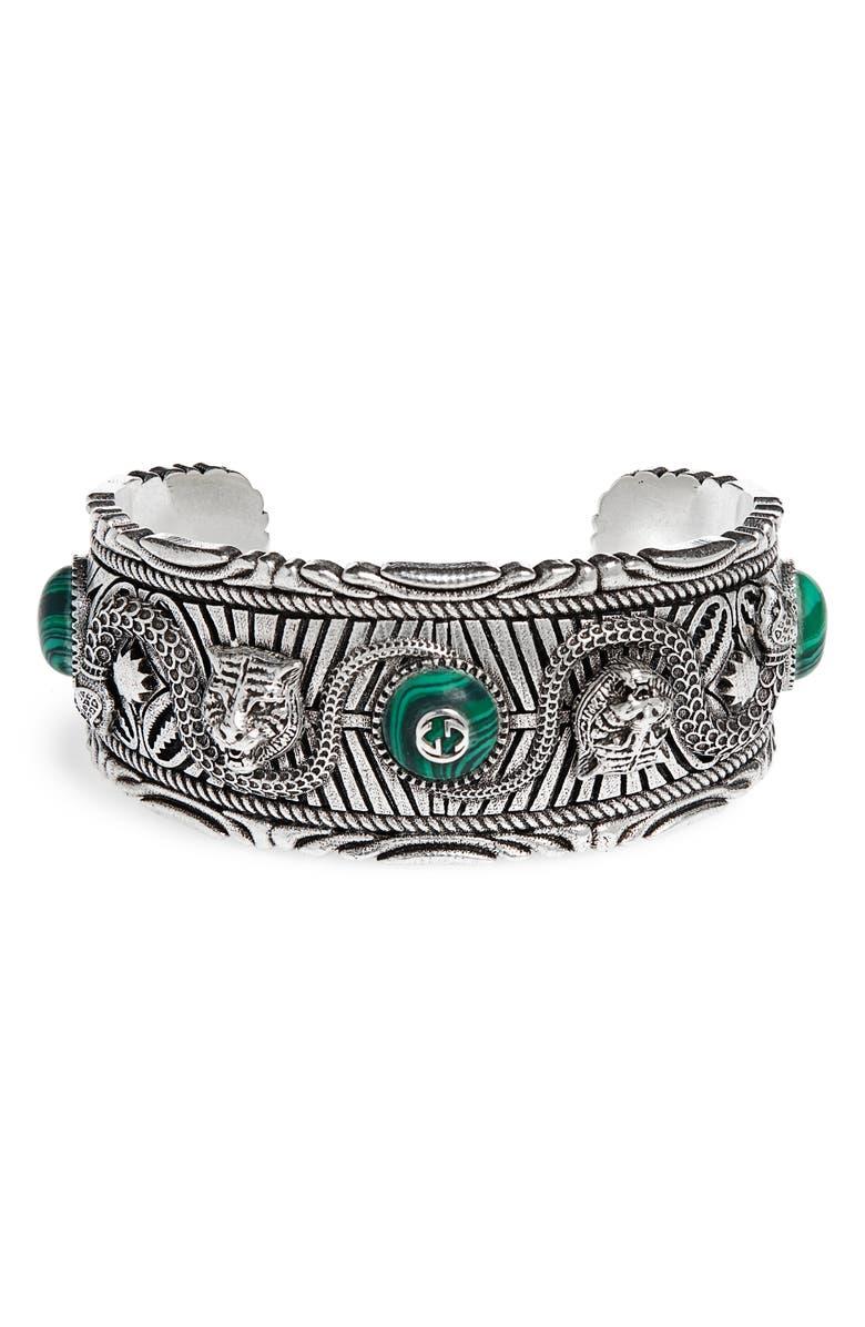 GUCCI Garden Sterling Silver Cuff Bracelet, Main, color, STERLING SILVER / MALACHITE