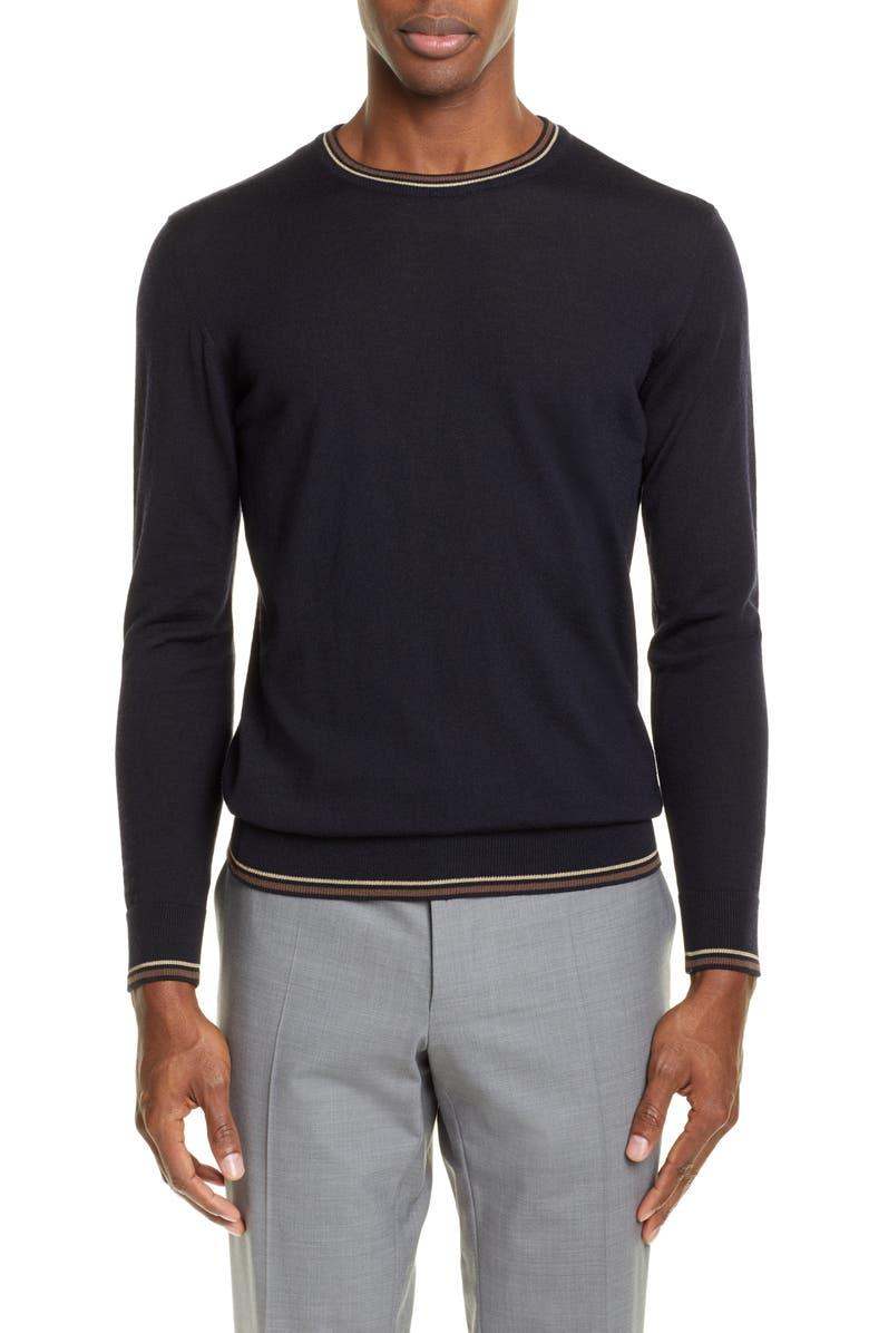 EMPORIO ARMANI Wool Crewneck Sweater, Main, color, NAVY
