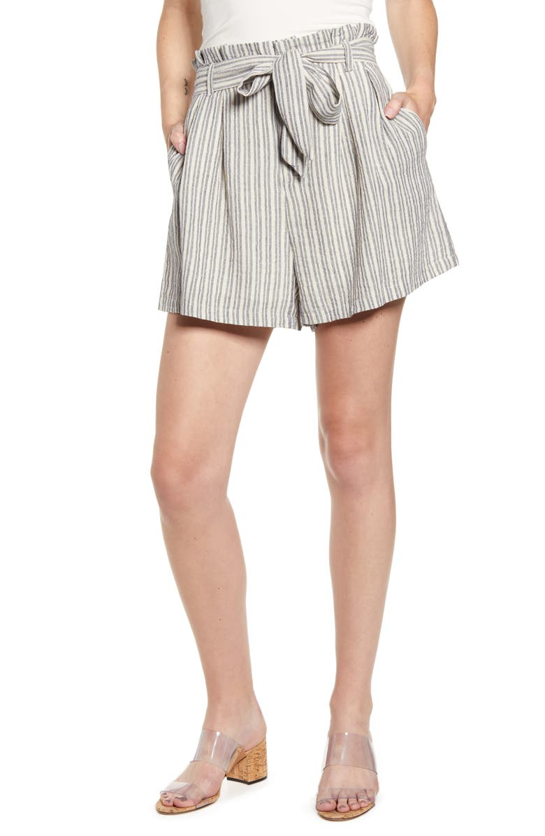 BISHOP + YOUNG Paperbag Waist Shorts, Main, color, GREY STRIPE