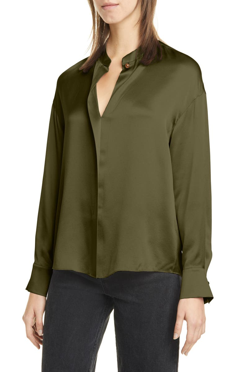 VINCE Wrap Front Long Sleeve Silk Blouse, Main, color, MINERAL PINE