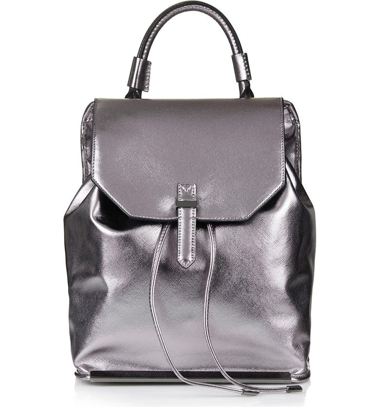 TOPSHOP Metallic Faux Leather Backpack, Main, color, 040