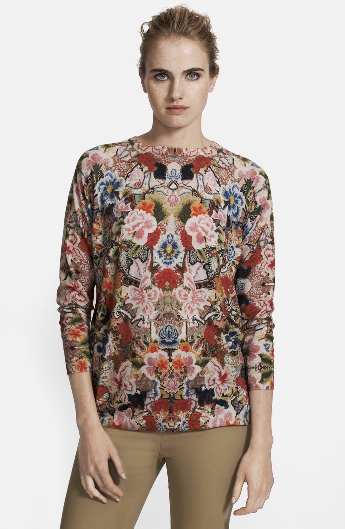 ,                             Patchwork Floral Print Sweater,                             Main thumbnail 1, color,                             649
