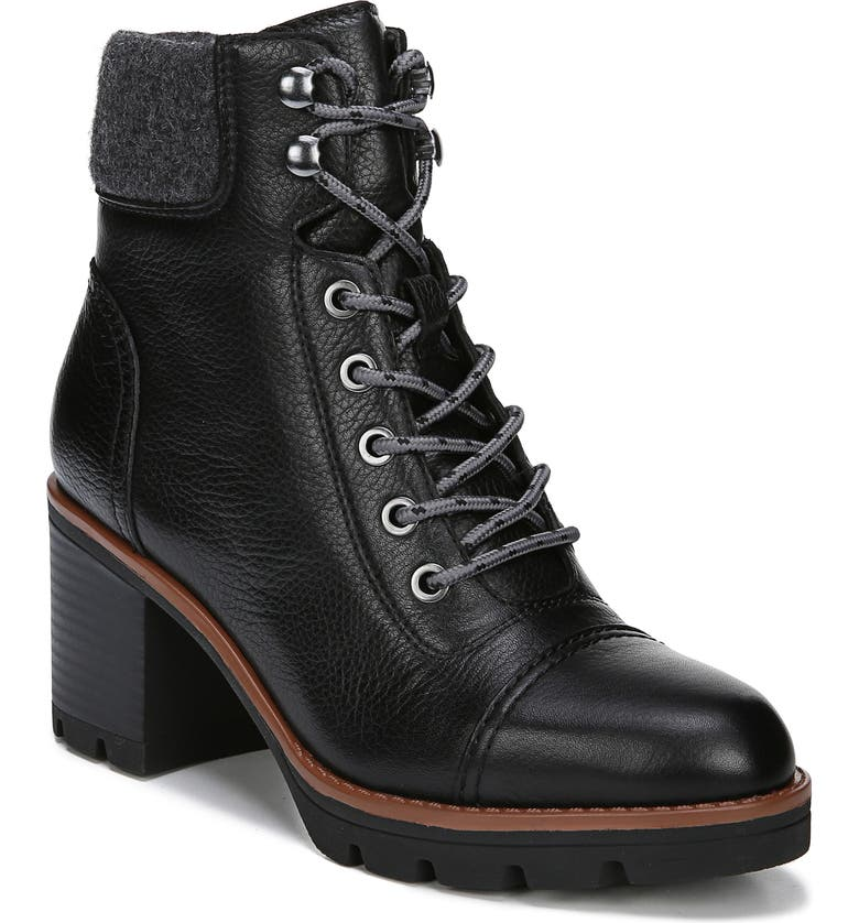 NATURALIZER Varuna Lugged Waterproof Bootie, Main, color, BLACK LEATHER
