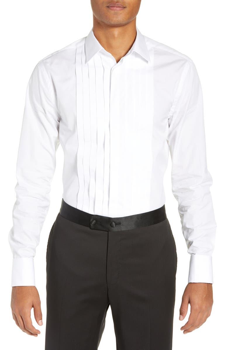 TIGER OF SWEDEN Fulton Extra Slim Fit Tuxedo Shirt, Main, color, 100