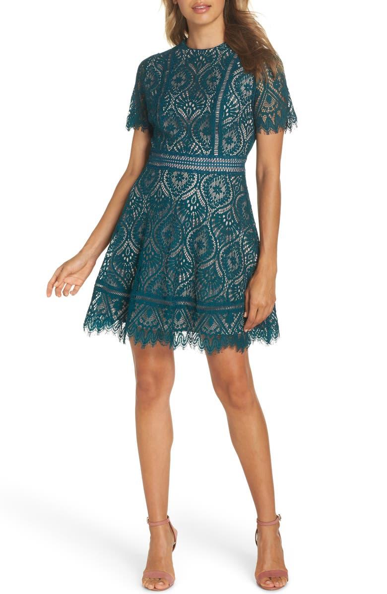 BB DAKOTA On List Short Sleeve Lace Fit & Flare Dress, Main, color, EVERGREEN