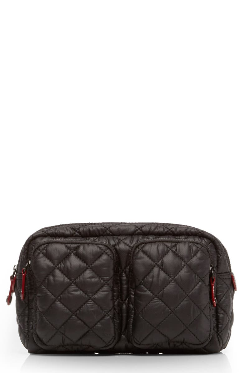 MZ WALLACE Large Savoy Quilted Oxford Nylon Cosmetics Bag, Main, color, BLACK/ BLACK