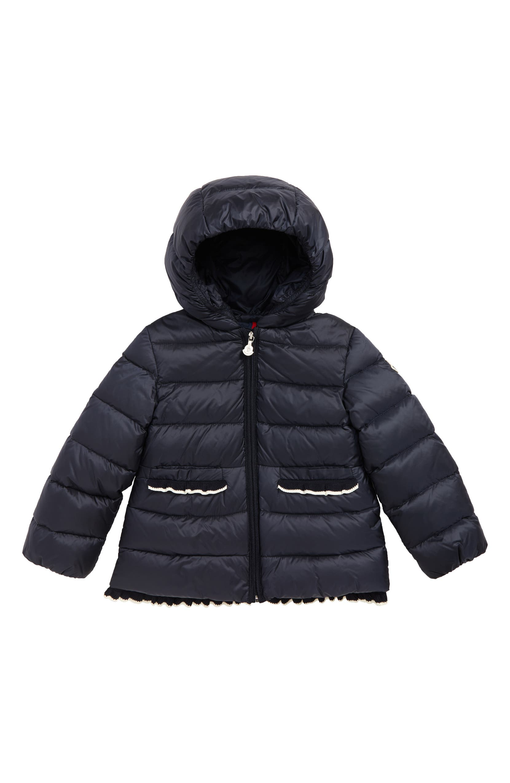 252c3dbef Moncler Temoe Ruffle Trim Down Coat (Toddler Girls)   Nordstrom