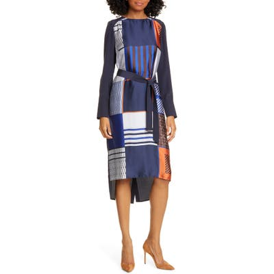Judith & Charles Torino Long Sleeve High/low Dress, Blue