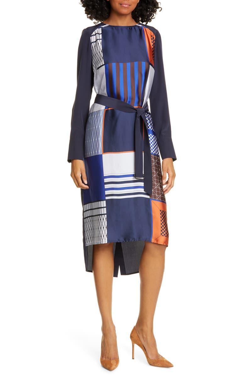 JUDITH & CHARLES Torino Long Sleeve High/Low Dress, Main, color, NAVY PRINT