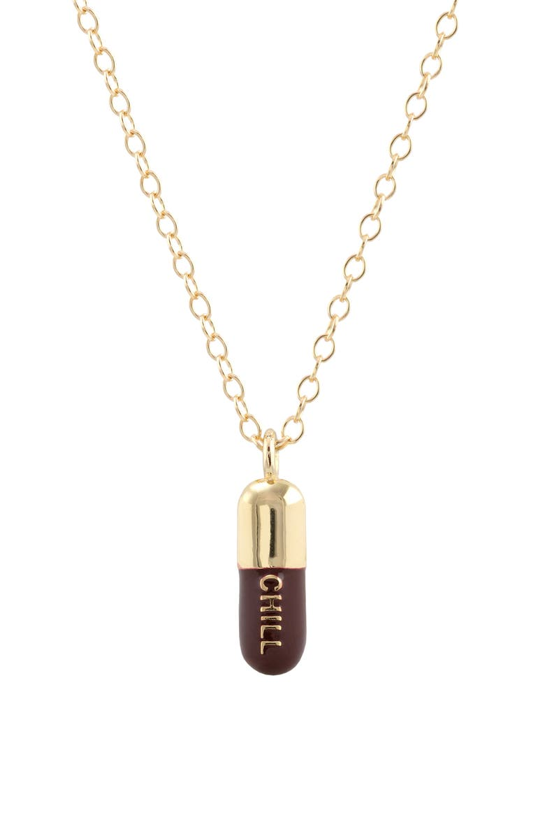 KRIS NATIONS Chill Pill Enamel Charm Necklace, Main, color, GOLD