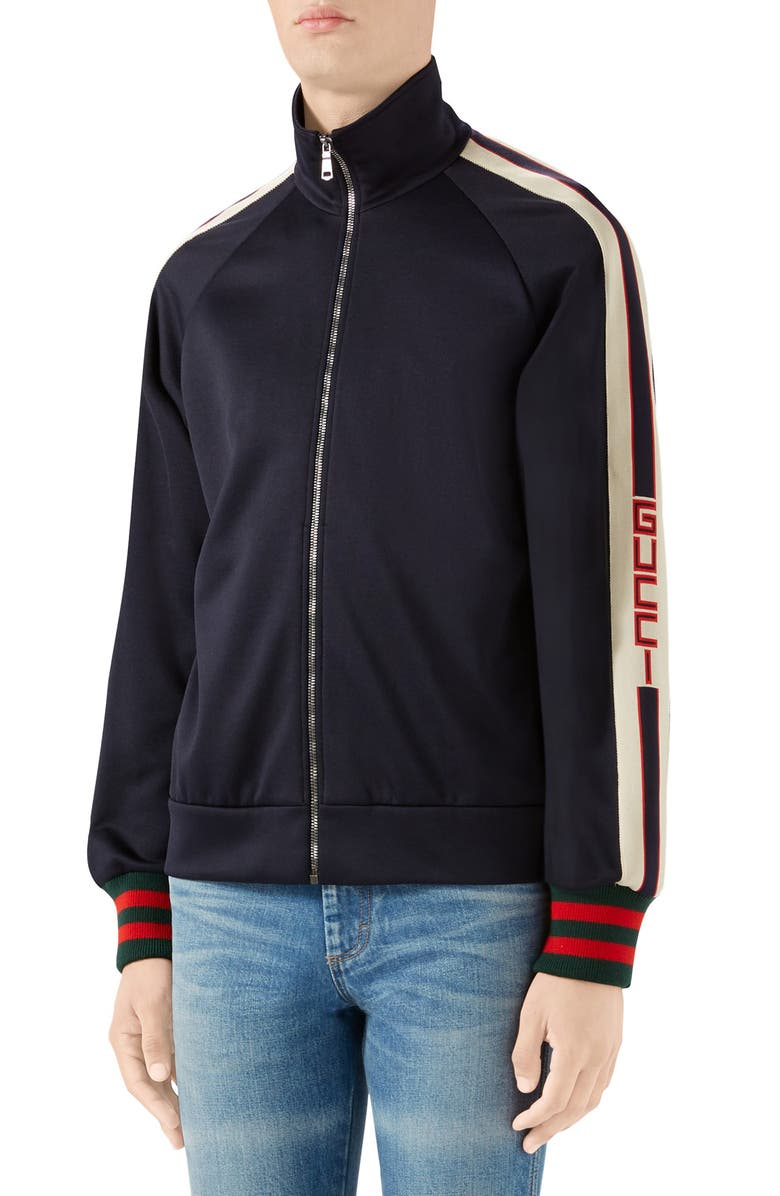 GUCCI Logo Tape Technical Jersey Track Jacket, Main, color, BLACK