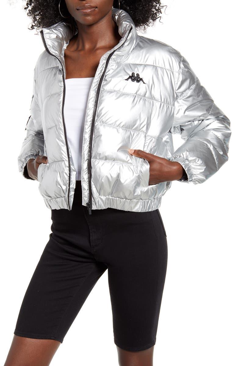 KAPPA La Boltan Metallic Puffer Jacket, Main, color, SILVER/ BLACK/ WHITE