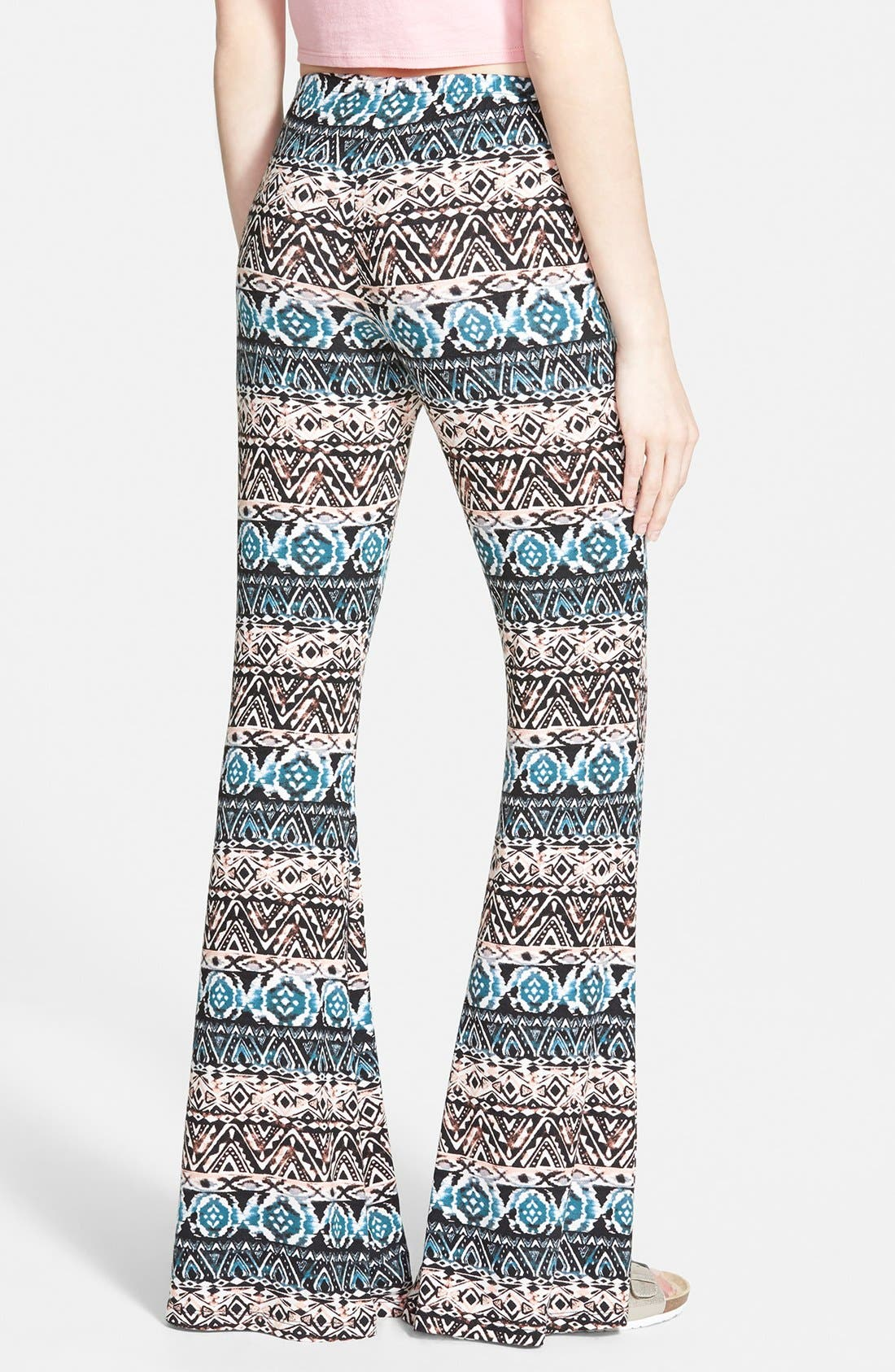 ,                             Mixed Print Flare Leg Pants,                             Alternate thumbnail 8, color,                             004
