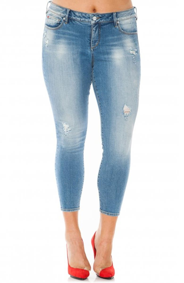 SLINK JEANS Distressed Stretch Ankle Skinny Jeans, Main, color, 455