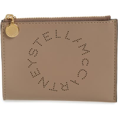 Stella Mccartney Small Perforated Logo Faux Leather Pouch - Beige