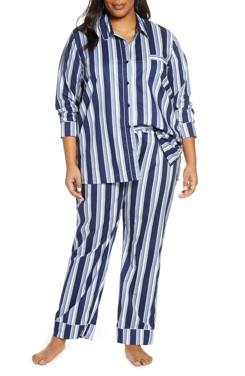 NORDSTROM Lingerie Classic Pajamas, Main, color, NAVY PEACOAT ABSTRACT STRIPE