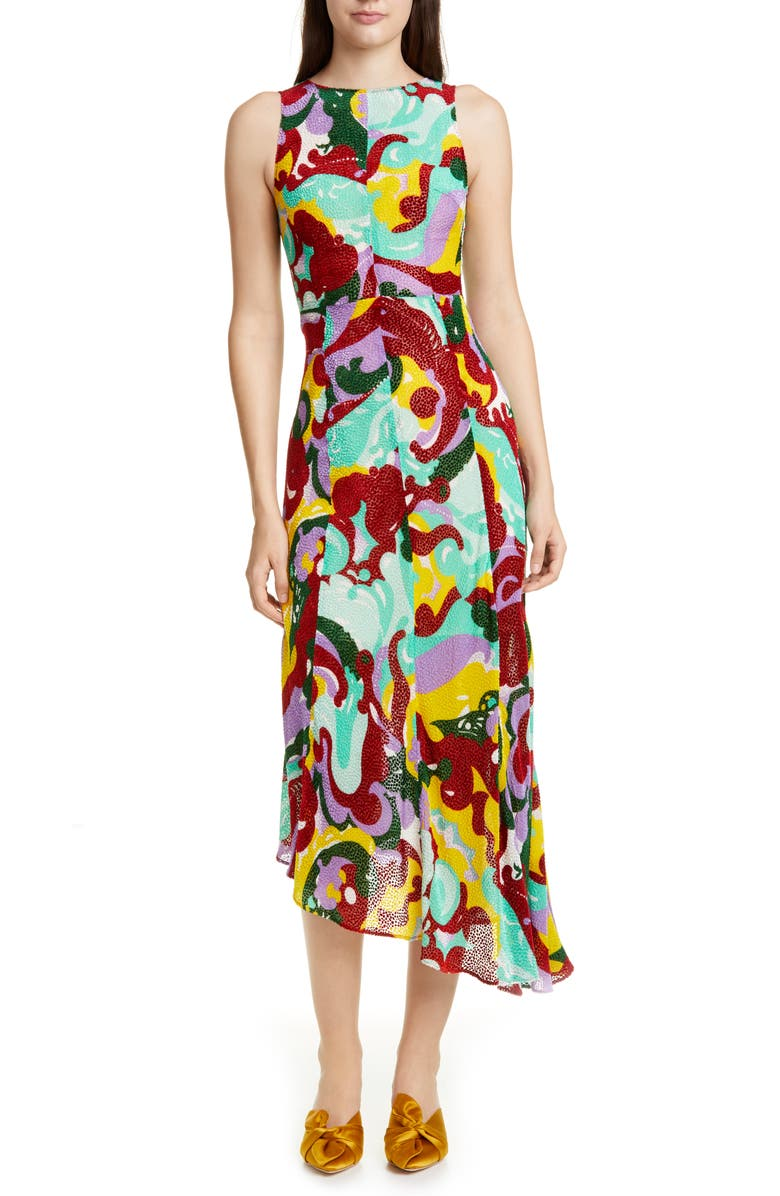 LA DOUBLEJ Pina Print Asymmetrical Midi Dress, Main, color, 300
