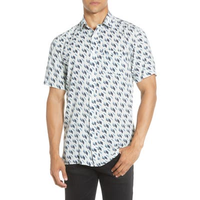 Selected Homme Slim Fit Print Short Sleeve Button-Up Shirt, Blue