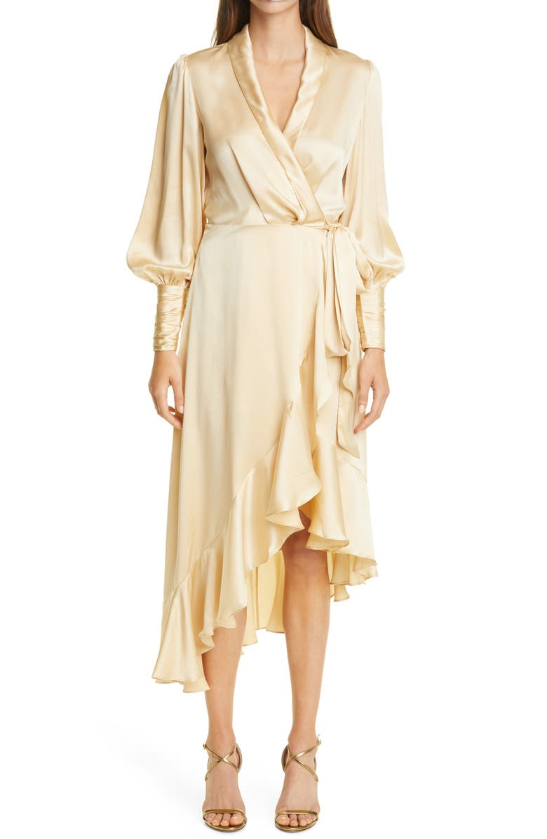 ZIMMERMANN Long Sleeve Silk Satin Wrap Dress, Main, color, CHAMPAGNE
