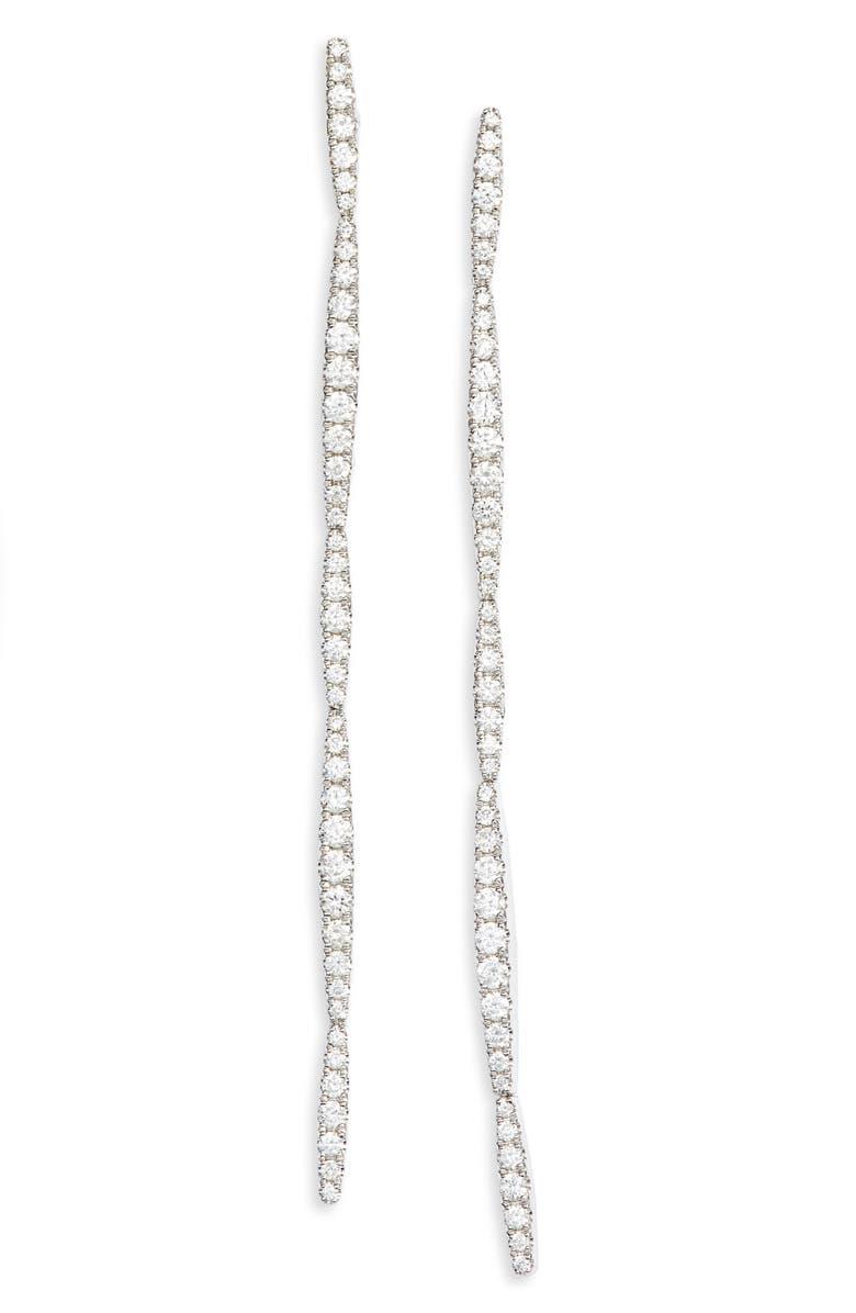 BONY LEVY Aviva Diamond Linear Earrings, Main, color, WHITE GOLD/ DIAMOND
