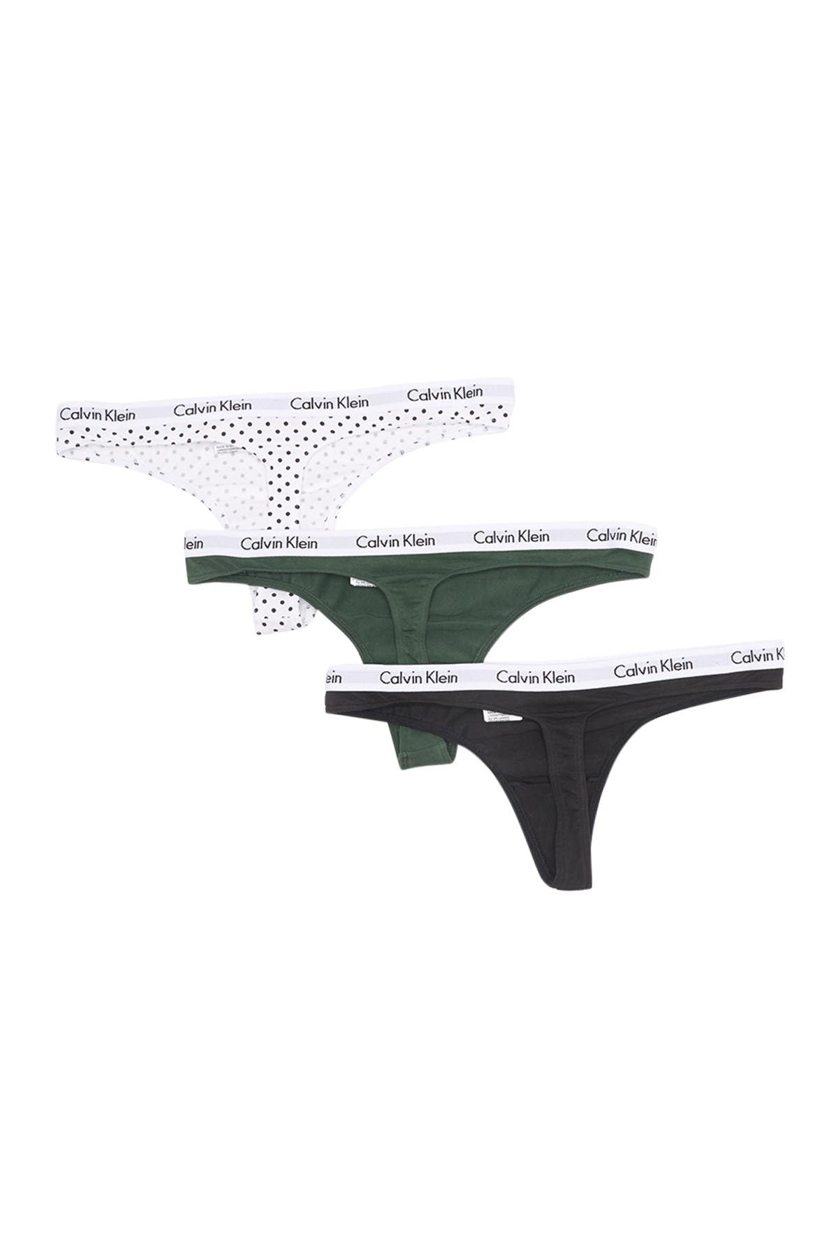 Image of Calvin Klein Logo Assorted Thongs - Pack of 3
