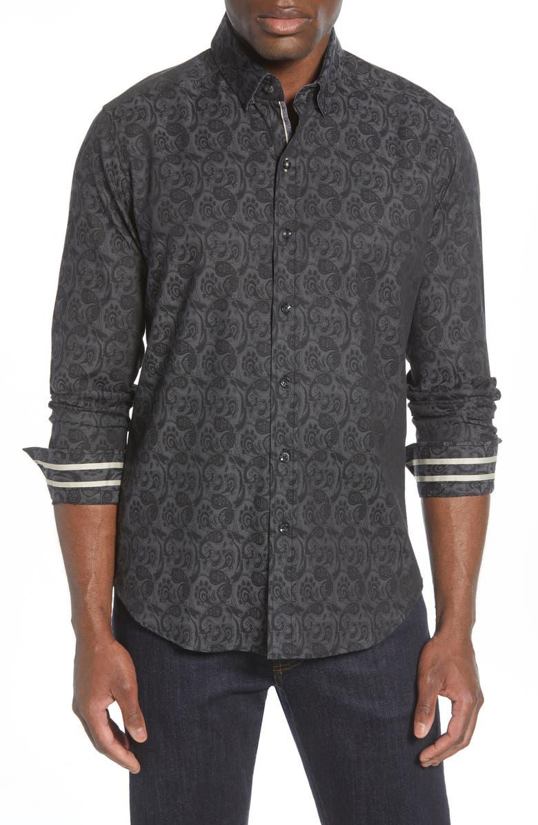 ROBERT GRAHAM Glendale Regular Fit Paisley Button-Up Shirt, Main, color, BLACK