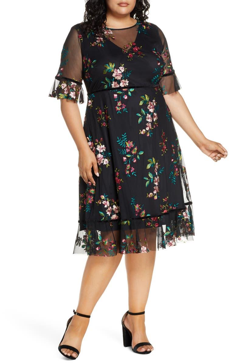 KIYONNA Wildflower Embroidered Dress, Main, color, ONYX