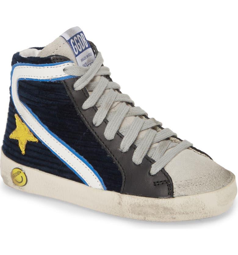 GOLDEN GOOSE Slide High Top Sneaker, Main, color, MIDNIGHT NAVY CORDUROY/ YELLOW