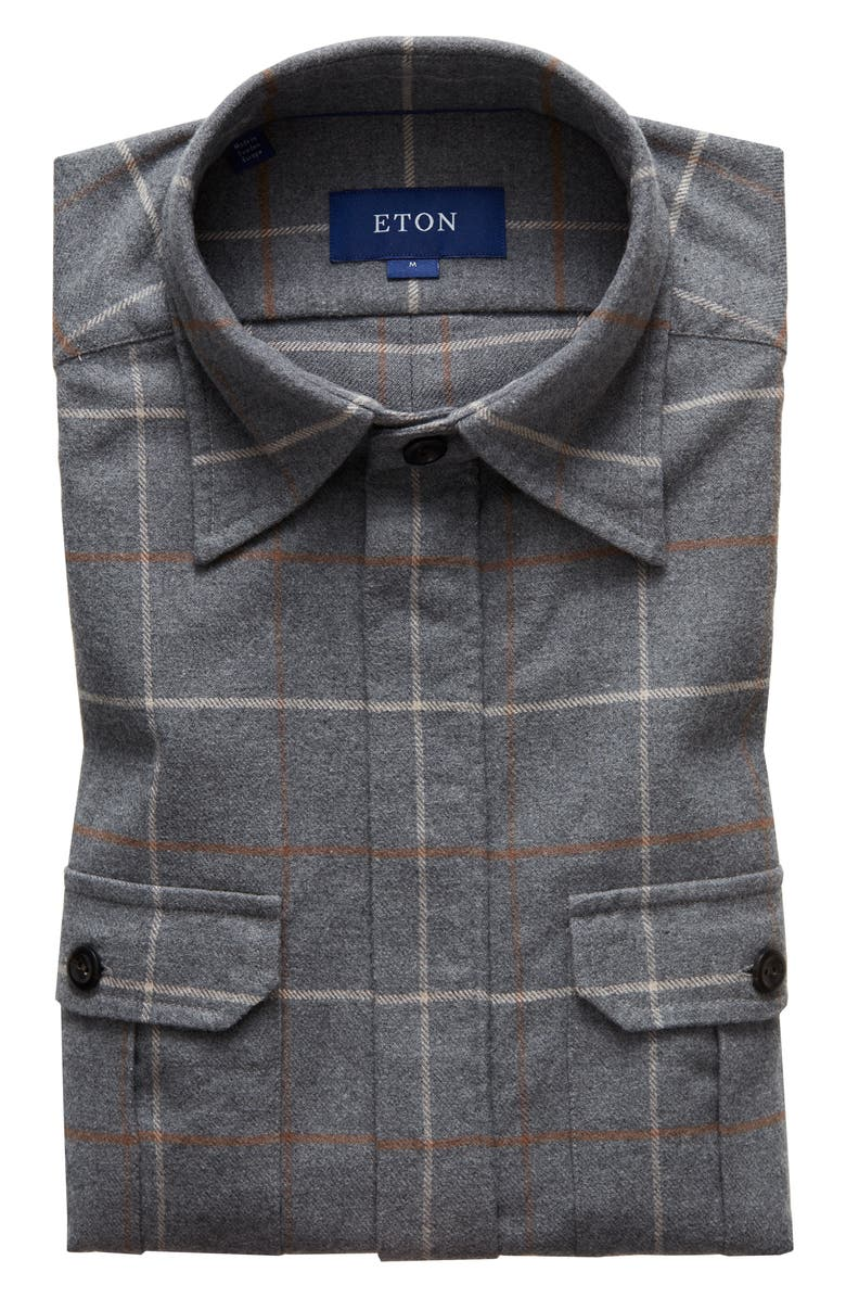 ETON Trim Fit Flannel Shirt Jacket, Main, color, GREY