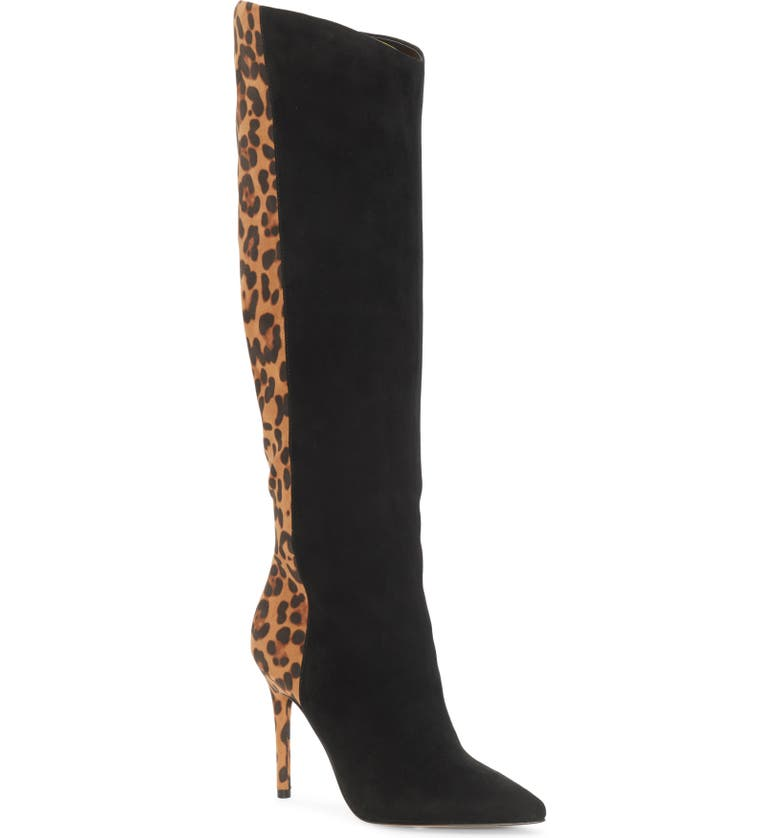 JESSICA SIMPSON Liney Pointed Toe Boot, Main, color, BLACK/ NATURAL SUEDE