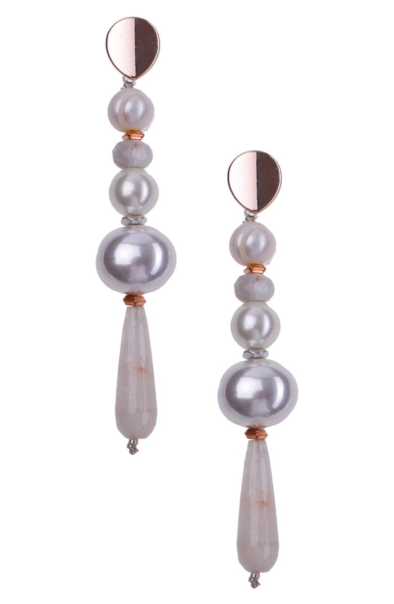 NAKAMOL CHICAGO Quartz & Pearl Linear Earrings, Main, color, WHITE