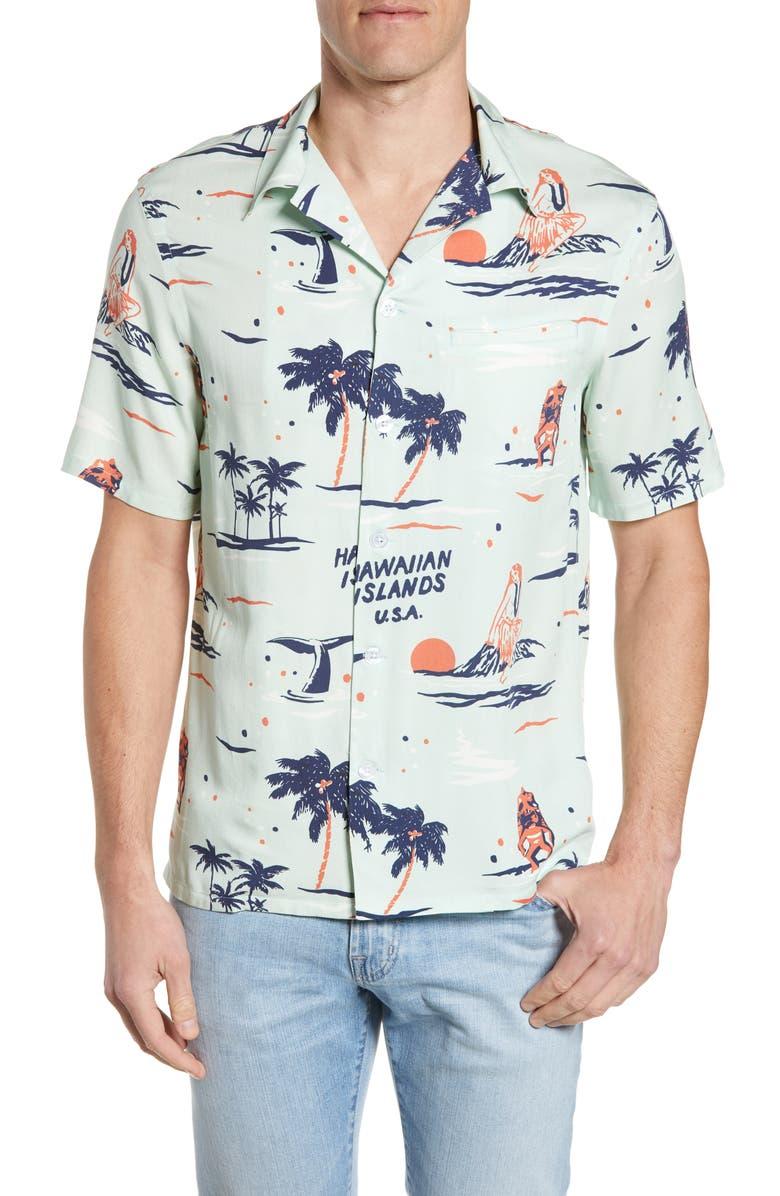 NIKBEN Big Kahuna Camp Shirt, Main, color, PALE GREEN