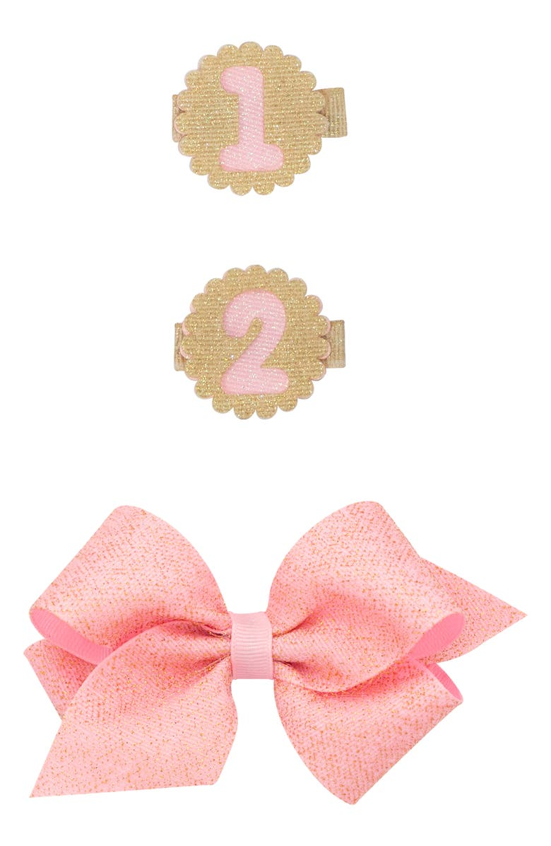 PLH BOWS Birthday Glitter Bow Hair Clip Set, Main, color, 640