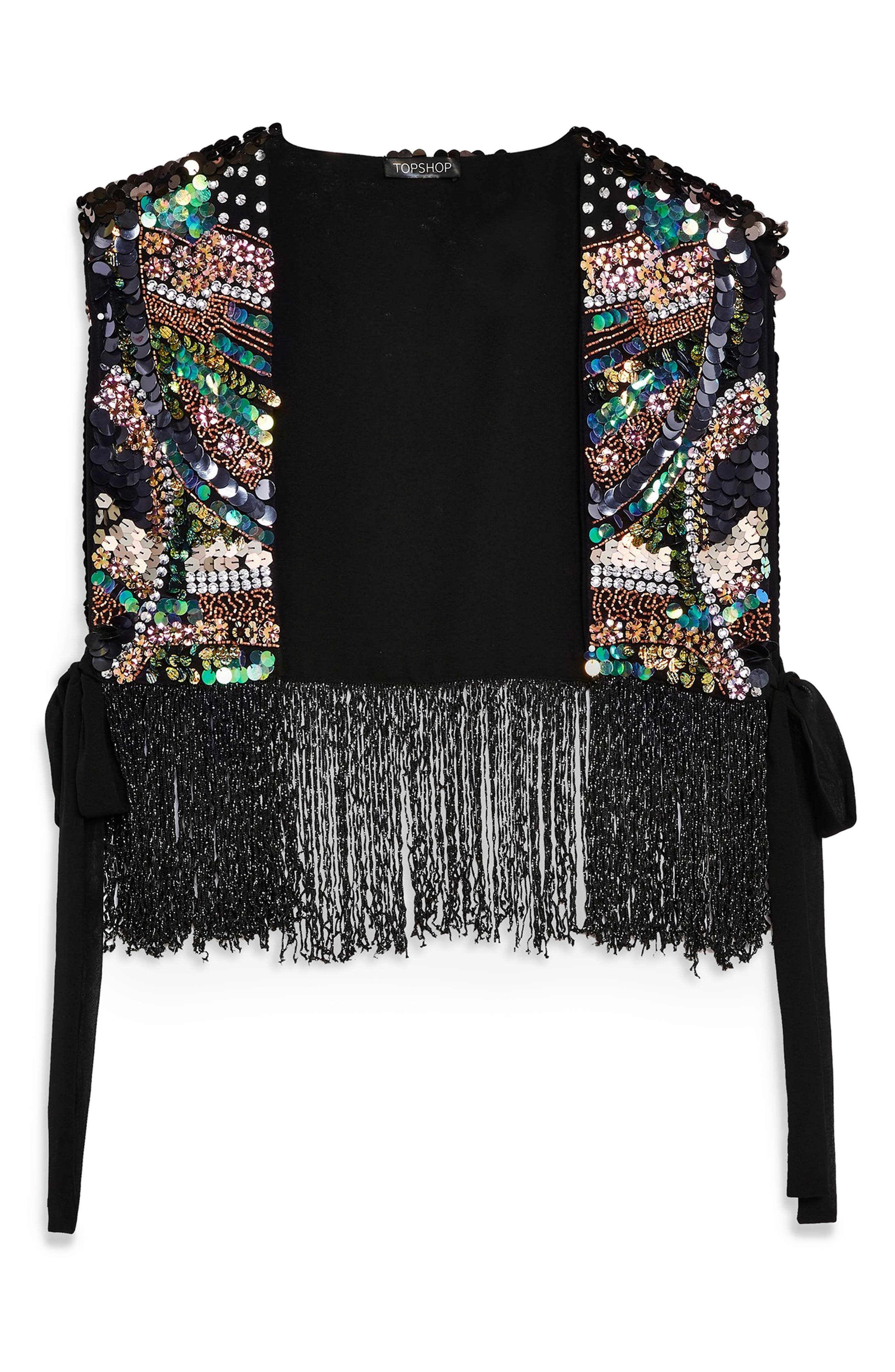 ,                             Bead Fringe Vest,                             Alternate thumbnail 3, color,                             GUNMETAL MULTI