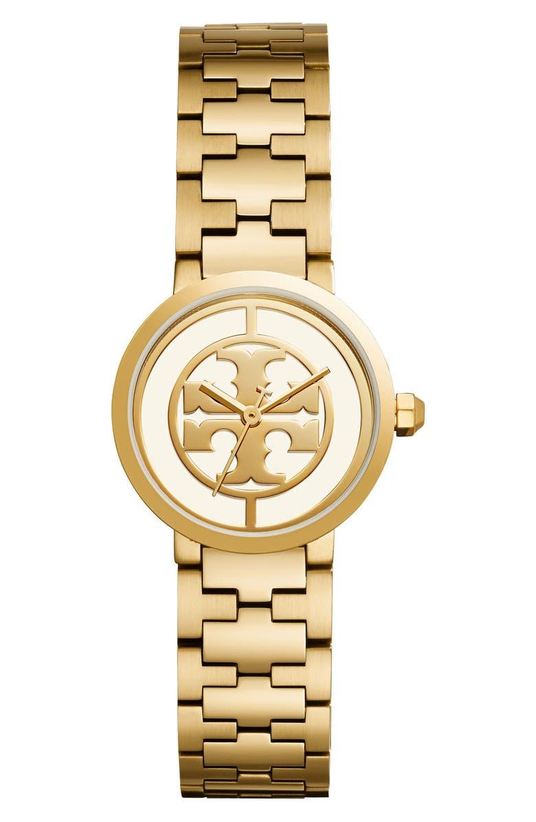 토리버치 Tory Burch Reva Logo Dial Bracelet Watch, 28mm,silver/ ivory/ gold