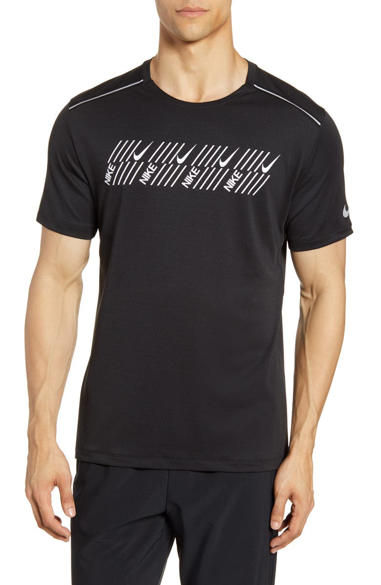 NIKE Miler Tech Capsule T-Shirt, Main, color, BLACK/ HEATHER