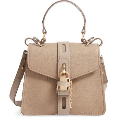 Chloe Small Aby Leather Convertible Bag - Grey