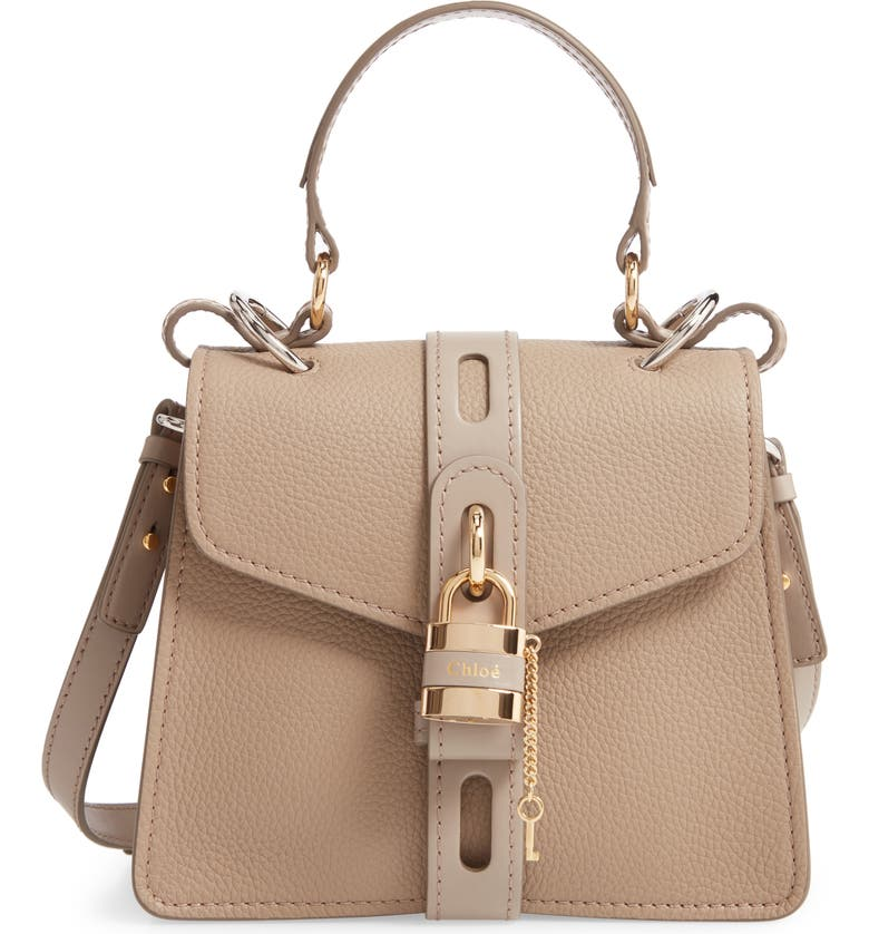 CHLOÉ Small Aby Leather Convertible Bag, Main, color, MOTTY GREY