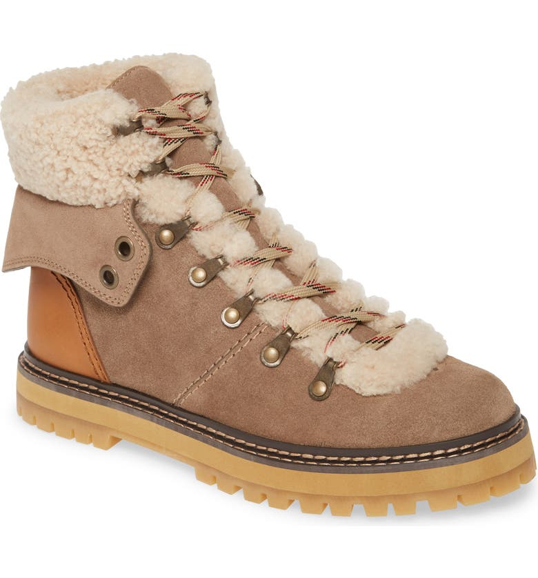 SEE BY CHLOÉ Eileen Genuine Shearling Hiking Boot, Main, color, TAUPE