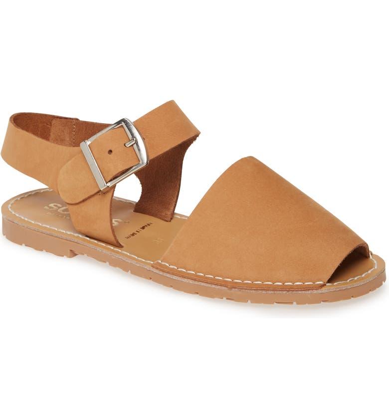 SOLILLAS Pesca Flat Sandal, Main, color, TAN NUBUCK