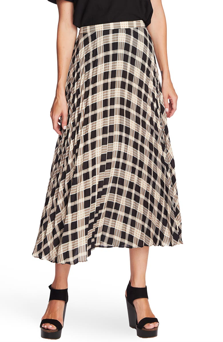 VINCE CAMUTO Highland Plaid Pleated Skirt, Main, color, 006