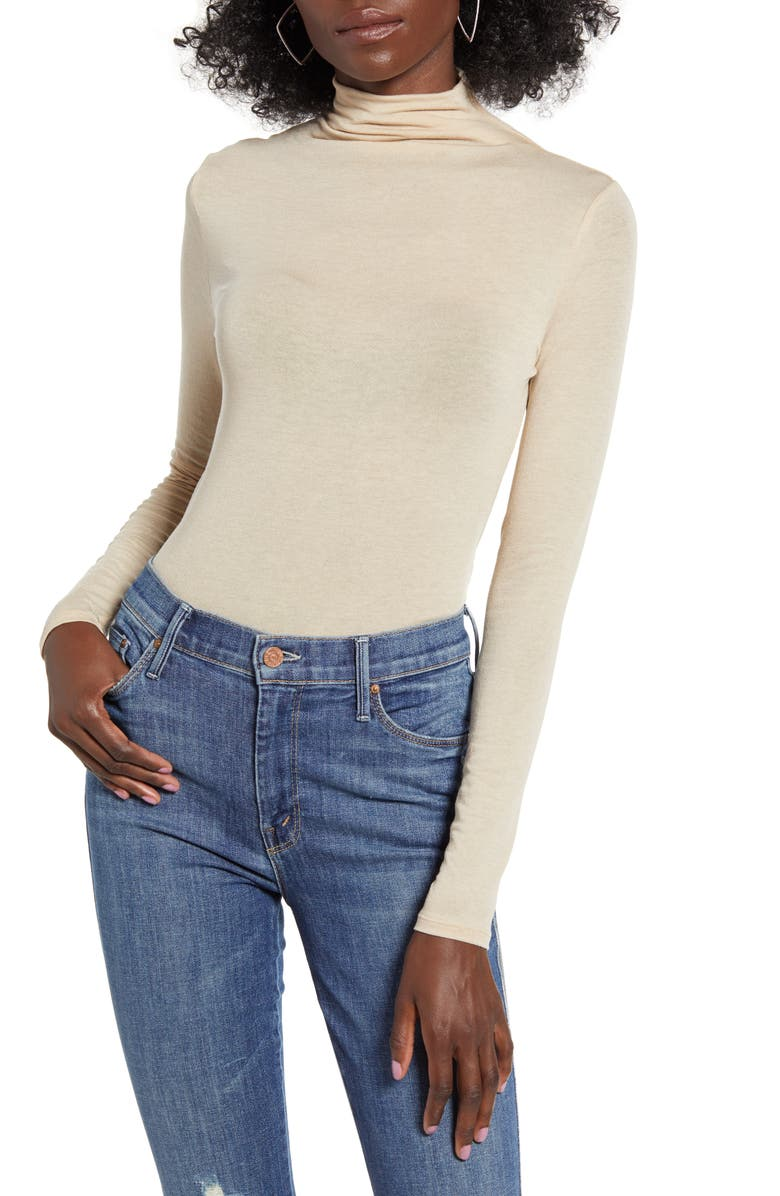 LEITH Funnel Neck Bodysuit, Main, color, BEIGE HUMMUS
