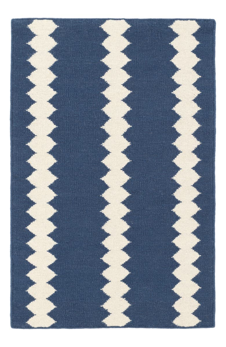 DASH & ALBERT Senna Woven Wool & Cotton Rug, Main, color, BLUE/ IVORY