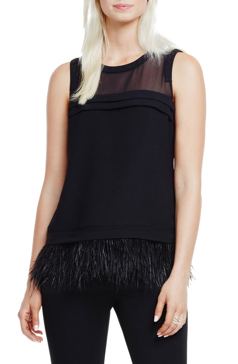 VINCE CAMUTO Sheer Yoke Shell with Feather Hem, Main, color, 001