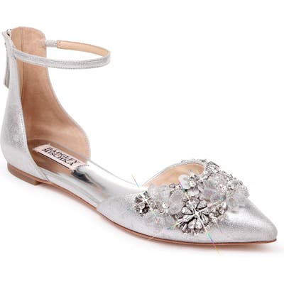 Badgley Mischka Abby Ankle Strap Flat- Metallic