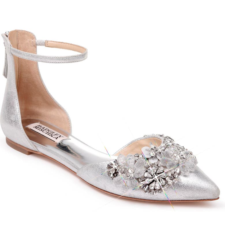 BADGLEY MISCHKA COLLECTION Badgley Mischka Abby Ankle Strap Flat, Main, color, SILVER LEATHER