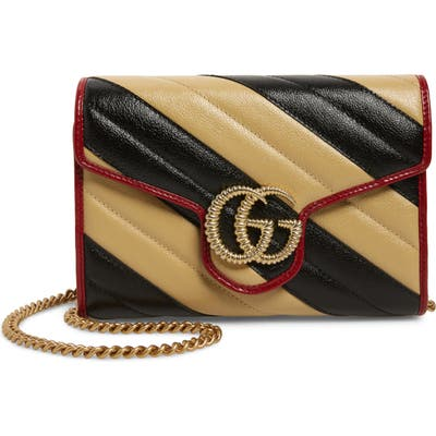 Gucci Gg Marmont Matelasse Leather Wallet On Chain - Black